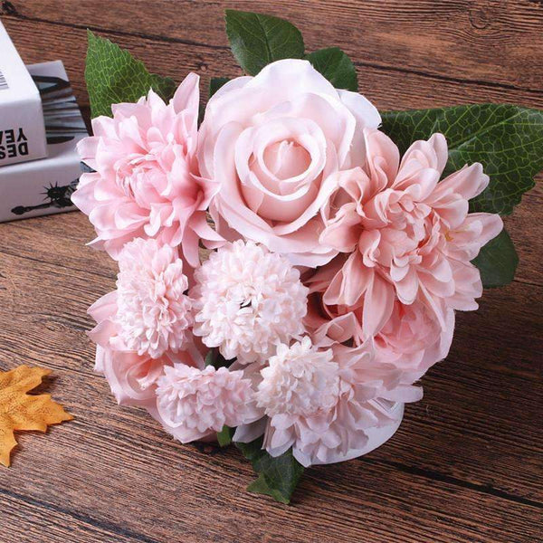 PinKart-USA Online Shopping Silk Flower Wedding Bouquet Roses Dahlias Artificial Flowers Fall Vivid Fake Leaf Wedding Flower