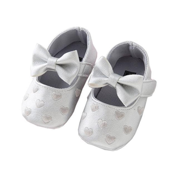 PINkart-USA Online Shopping Silver / 7-12 Months Soft Bottom Pu Leather Baby Shoes Big Bow Embroidery Love Kids Shoes Non-Slip Toddler Soft Soled