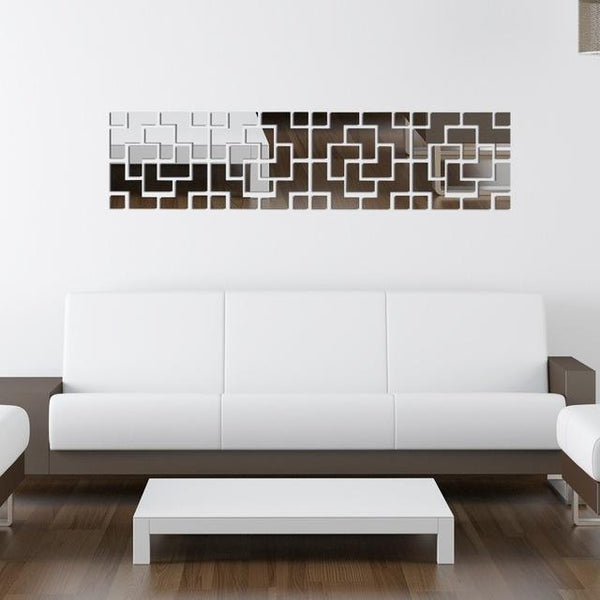 Modern Tv Background 3D Wall Stickers Mirror Diy Wall Stickers Home Decor Art Wall Mirror