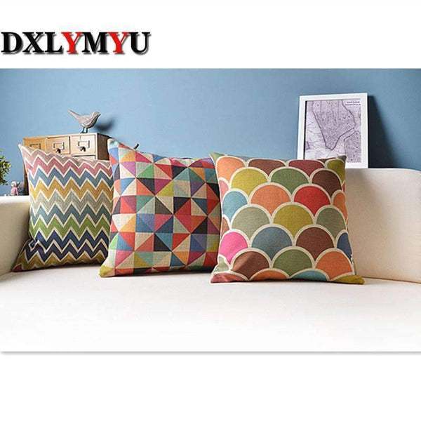 PinKart-USA Online Shopping size 45x45cm Geometric Cushion For Sofa Car Decorative Pillows Colorful Cushions Home Decor/Capa Para