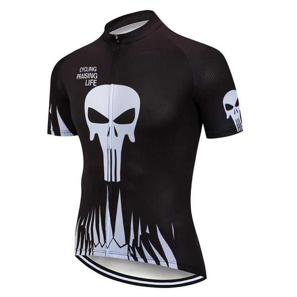 PINkart-USA Online Shopping Skull Cycling Jersey Shirt Black Men Cycling Clothing Summer Short Sleeve Mtb Bike Jersey