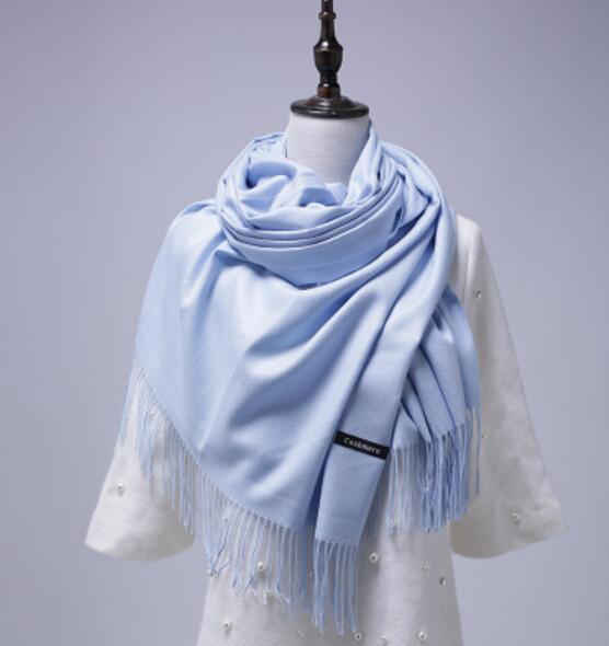 PinKart-USA Online Shopping Sky Blue 200Cmx70Cm Winter Oversize Scarves Simple Fashion Warm Blanket Unisex Solid Wraps Cashmere Scarf