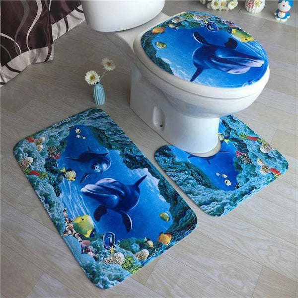 PINkart-USA Online Shopping Sky Blue High Grade Carpet Flannel Three Pieces Of Toilet Cover Bathroom Non-Slip Mat Soft Household