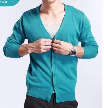 PinKart-USA Online Shopping sky blue / M Spring And Autumn Multi-Colored V-Neck Solid Color Sweater Outerwear Male Cashmere Cardigan