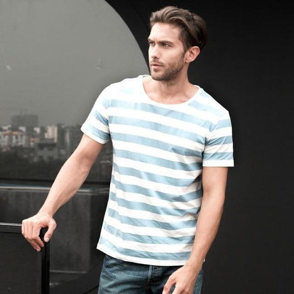 Navy Striped Sailor T-Shirt Men Summer Black And White Striped Loose T Shirt Men Horizontal Sea