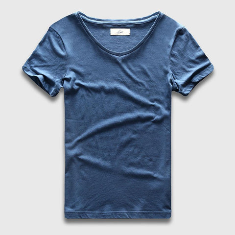 PINkart-USA Online Shopping Slim Fit V-Neck T-Shirt Men Basic Plain T Shirt Male Clothes Solid Cotton Top Tees Short Sleeve