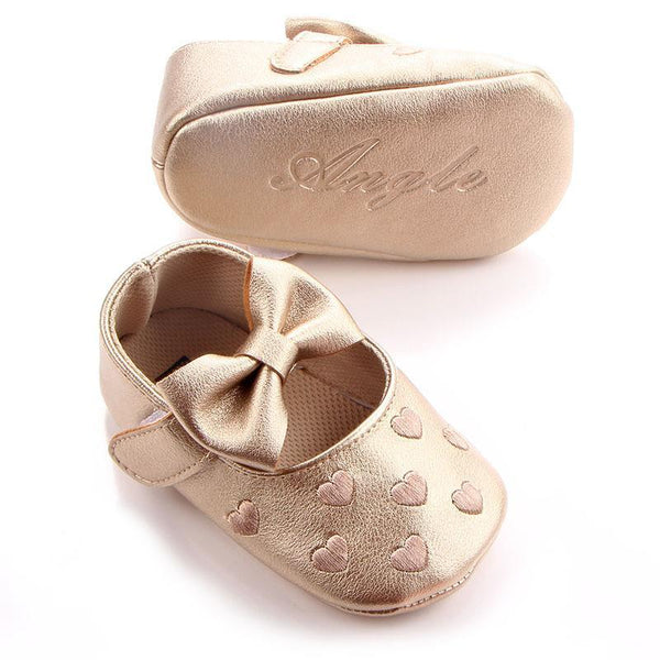 PINkart-USA Online Shopping Soft Bottom Pu Leather Baby Shoes Big Bow Embroidery Love Kids Shoes Non-Slip Toddler Soft Soled