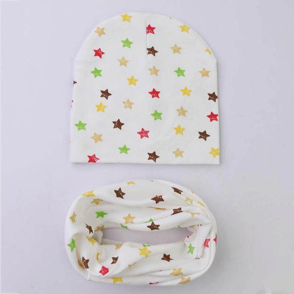 PINkart-USA Online Shopping star 1 Set Cotton Baby Hat Scarf Solid Color Children Caps Scarves Autumn Winter Kids Boys Girls O Ring