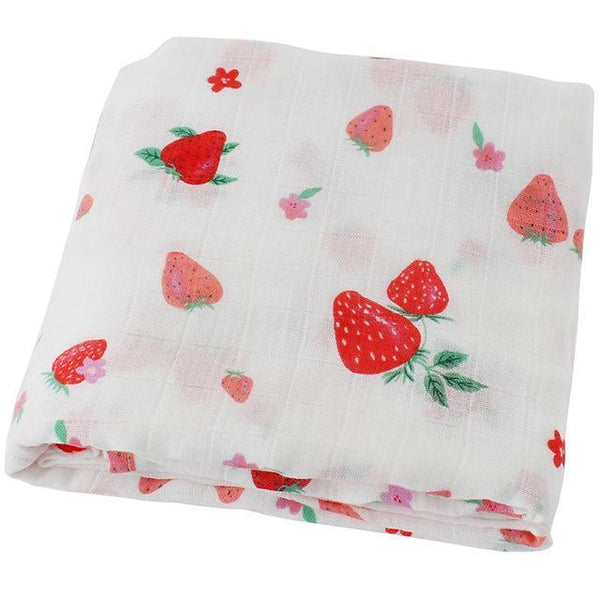 PINkart-USA Online Shopping Strawberry Super Soft Blanket For Children Cotton Bamboo Muslin Swaddle For Newborns Baby Wrap Breathable Car