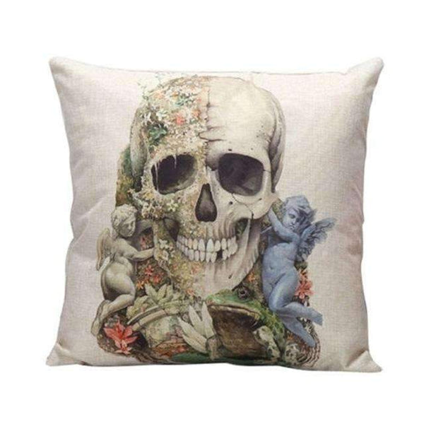 PinKart-USA Online Shopping Style 1 Skull Pillowcase Punk Skull Halloween Pillow Case Lovers Terror Crown Sugar Skull Skeleton 18X18