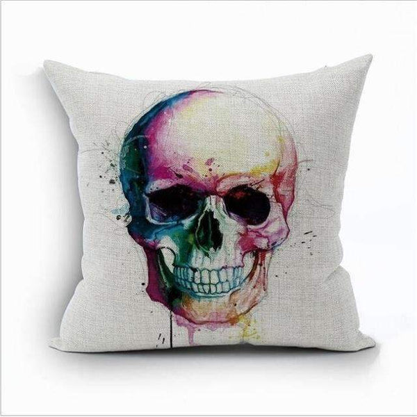 PinKart-USA Online Shopping Style 10 Skull Pillowcase Punk Skull Halloween Pillow Case Lovers Terror Crown Sugar Skull Skeleton 18X18