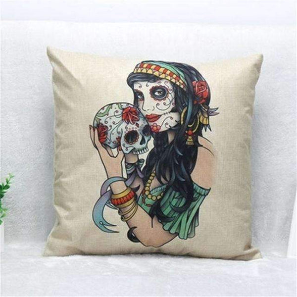 PinKart-USA Online Shopping Style 11 Skull Pillowcase Punk Skull Halloween Pillow Case Lovers Terror Crown Sugar Skull Skeleton 18X18