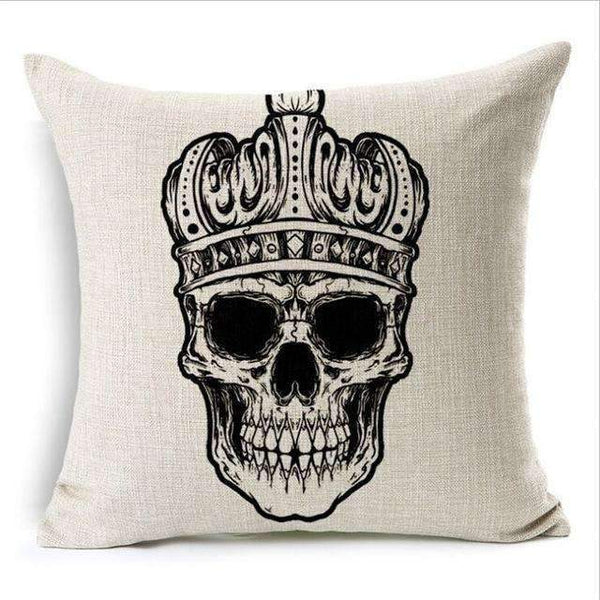 PinKart-USA Online Shopping Style 12 Skull Pillowcase Punk Skull Halloween Pillow Case Lovers Terror Crown Sugar Skull Skeleton 18X18