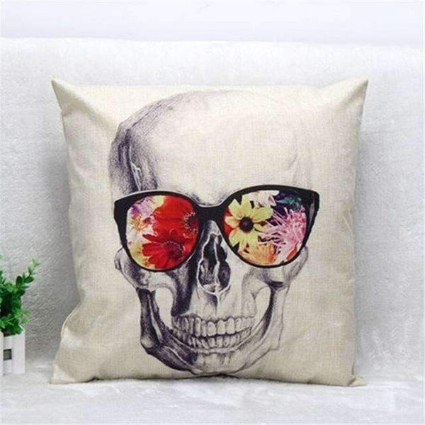 Skull Pillowcase Punk Skull Halloween Pillow Case Lovers Terror Crown Sugar Skull Skeleton 18X18 Online Shopping PINkart.in