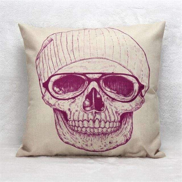 PinKart-USA Online Shopping Style 14 Skull Pillowcase Punk Skull Halloween Pillow Case Lovers Terror Crown Sugar Skull Skeleton 18X18
