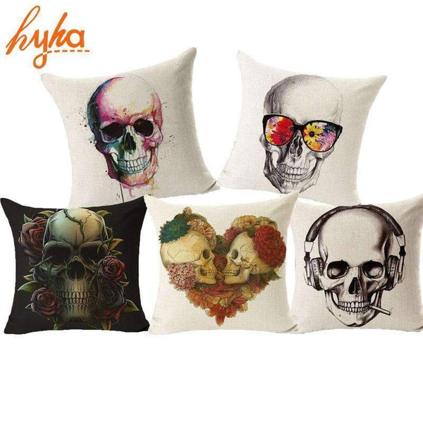 PinKart-USA Online Shopping Style 15 Skull Pillowcase Punk Skull Halloween Pillow Case Lovers Terror Crown Sugar Skull Skeleton 18X18