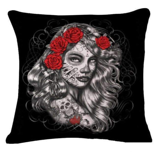 PinKart-USA Online Shopping Style 18 Skull Pillowcase Punk Skull Halloween Pillow Case Lovers Terror Crown Sugar Skull Skeleton 18X18