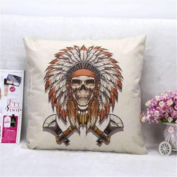 PinKart-USA Online Shopping Style 2 Skull Pillowcase Punk Skull Halloween Pillow Case Lovers Terror Crown Sugar Skull Skeleton 18X18