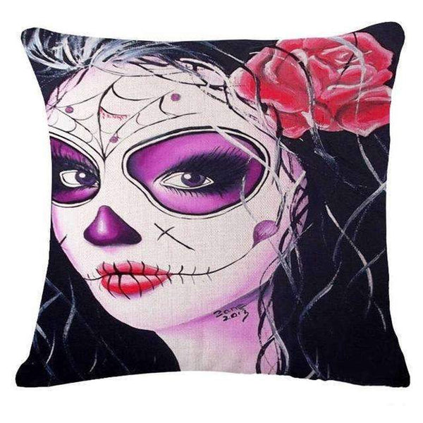 PinKart-USA Online Shopping Style 20 Skull Pillowcase Punk Skull Halloween Pillow Case Lovers Terror Crown Sugar Skull Skeleton 18X18