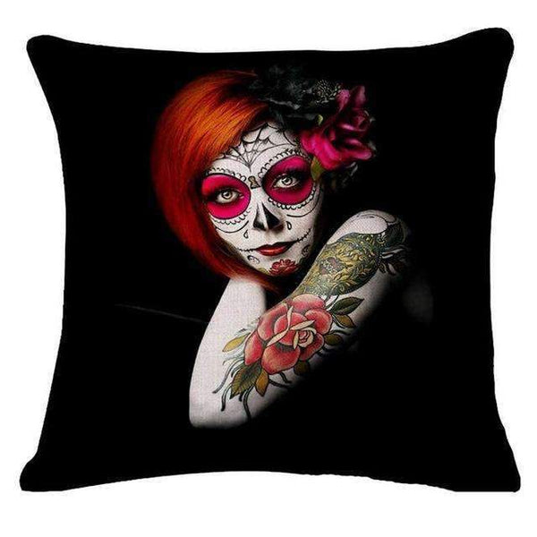 PinKart-USA Online Shopping Style 22 Skull Pillowcase Punk Skull Halloween Pillow Case Lovers Terror Crown Sugar Skull Skeleton 18X18