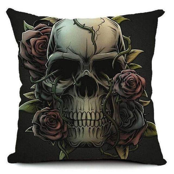 PinKart-USA Online Shopping Style 3 Skull Pillowcase Punk Skull Halloween Pillow Case Lovers Terror Crown Sugar Skull Skeleton 18X18