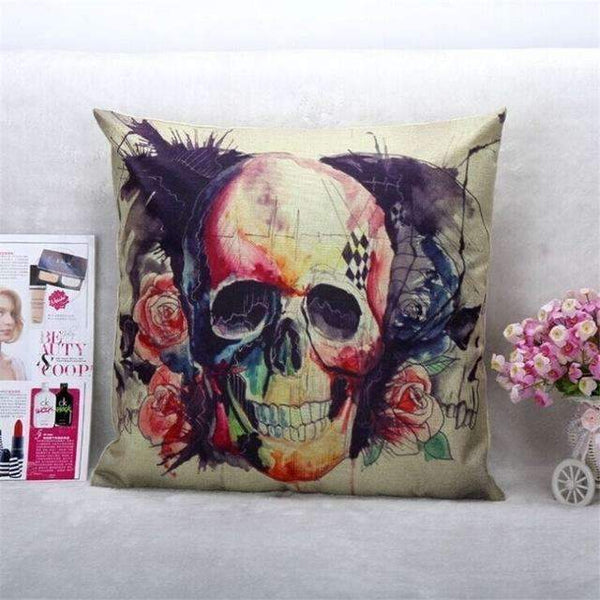 PinKart-USA Online Shopping Style 4 Skull Pillowcase Punk Skull Halloween Pillow Case Lovers Terror Crown Sugar Skull Skeleton 18X18