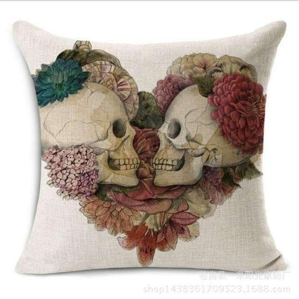 PinKart-USA Online Shopping Style 6 Skull Pillowcase Punk Skull Halloween Pillow Case Lovers Terror Crown Sugar Skull Skeleton 18X18