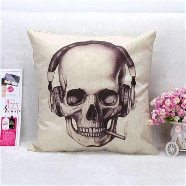 PinKart-USA Online Shopping Style 7 Skull Pillowcase Punk Skull Halloween Pillow Case Lovers Terror Crown Sugar Skull Skeleton 18X18