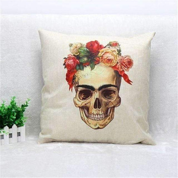 PinKart-USA Online Shopping Style 8 Skull Pillowcase Punk Skull Halloween Pillow Case Lovers Terror Crown Sugar Skull Skeleton 18X18