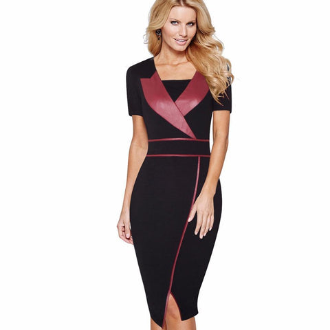 PINkart-USA Online Shopping Summer Women Work Office Business Sheath Dress With Split Short Sleeve Patchwork V-Neck Bodycon