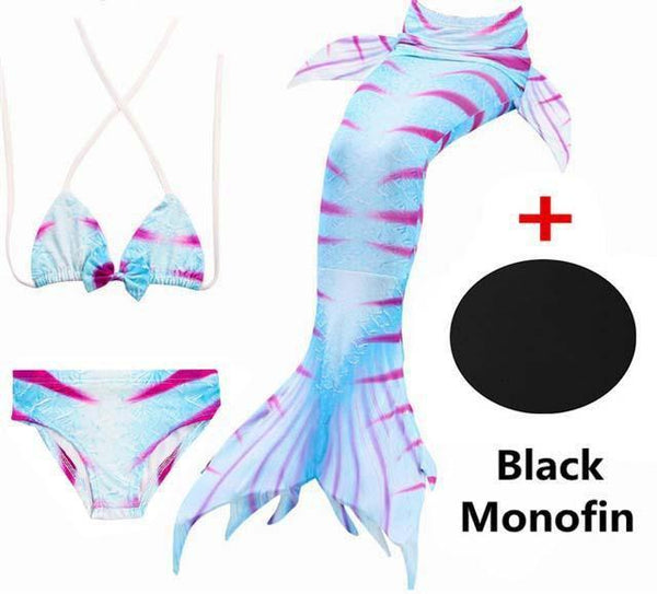 PINkart-USA Online Shopping SZ108 / 4T 4 Piece Bikinis Set Swimmable Children Mermaid Tails With Monofin Black Fin Girls Kids Girl