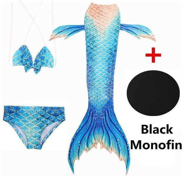 PINkart-USA Online Shopping SZ115 / 4T 4 Piece Bikinis Set Swimmable Children Mermaid Tails With Monofin Black Fin Girls Kids Girl