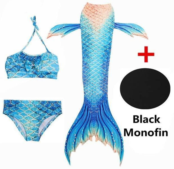 PINkart-USA Online Shopping SZ116 / 4T 4 Piece Bikinis Set Swimmable Children Mermaid Tails With Monofin Black Fin Girls Kids Girl