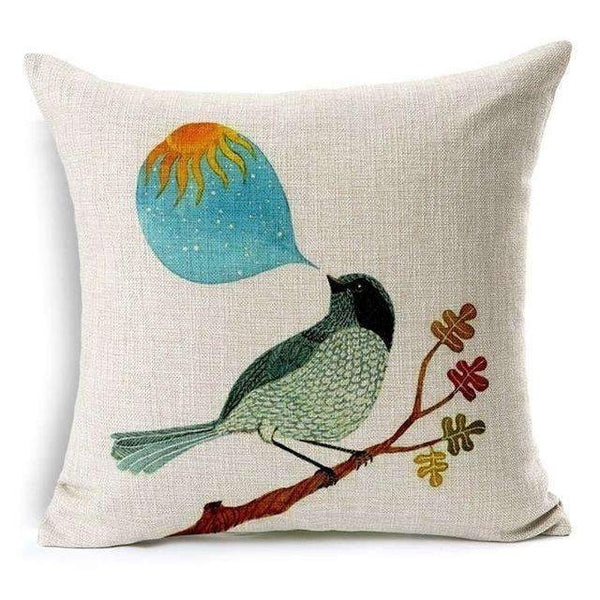 PinKart-USA Online Shopping Talking Bird Pillow Case Beautiful Flower And Bird Cotton Linen Pillowcase For Bedroom Chair Seat Throw