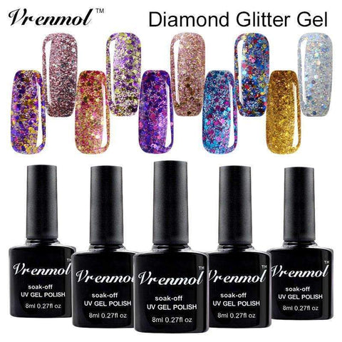 PinKart-USA Online Shopping top coat 3D Brilliant Diamond Glitter Gel Lacquer Soak Off Long Lasting Uv Led Nail Polish Shimmer