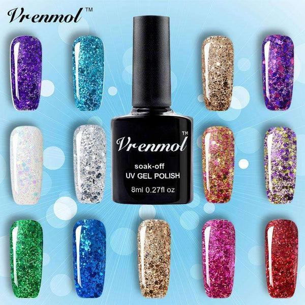 PinKart-USA Online Shopping top coat 3D Diamond Glitter Gel Nail Polish Soak Off Semi Permanen Uv Led Shimmer Diy Art 20 Colors