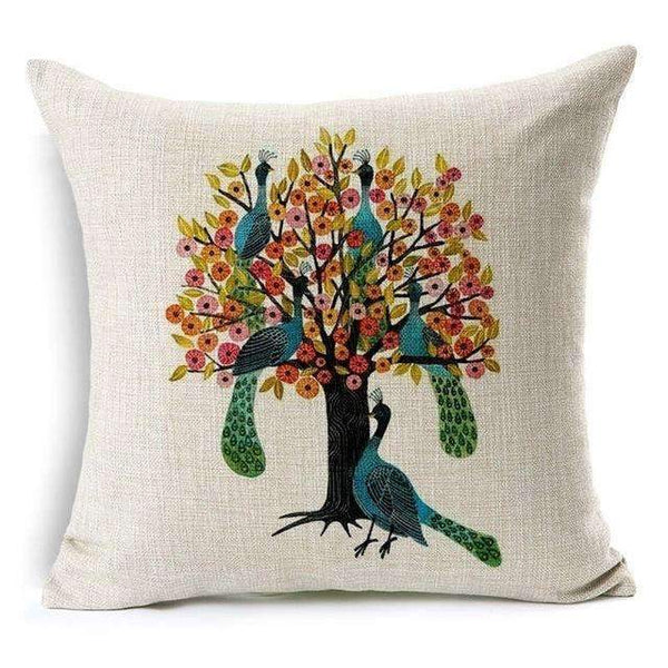 PinKart-USA Online Shopping Tree and Peacock Pillow Case Beautiful Flower And Bird Cotton Linen Pillowcase For Bedroom Chair Seat Throw