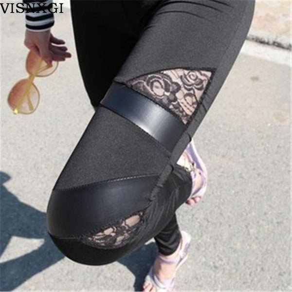 PINkart-USA Online Shopping Triangle Lace Black / One Size Women Charming Warm Cheap Lace Leggings Skinny Stretch Pants For Autumn Winter Triangular Lace Pu