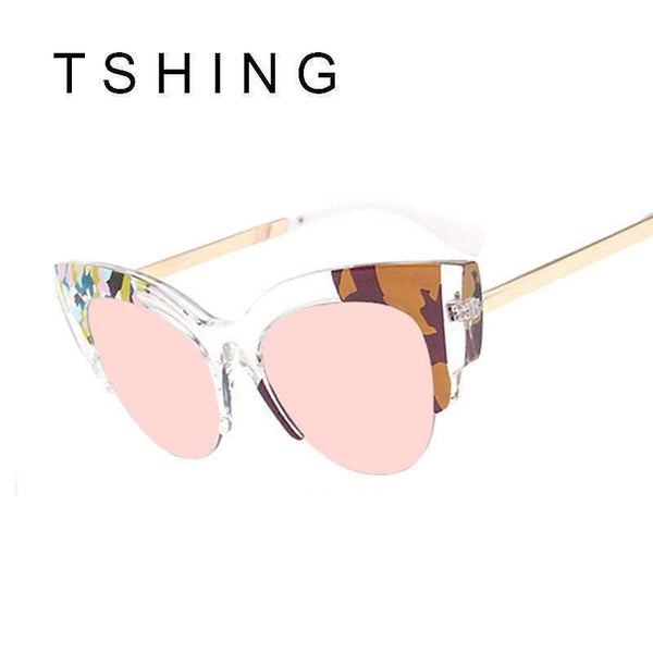 PinKart-USA Online Shopping Tshing Ladies Cat Eye Sunglasses Unique Clear Print Half Frame Mirror Sun Glasses Vogue