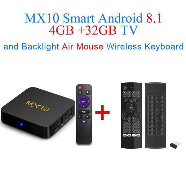 PINkart-USA Online Shopping UK Plug / 4G 32G add Air Mouse Mx10 Android Tv Box Rk3328 4K Tv Box Android 8.1 Usb3.0 4Gb 32Gb 64Gb Miracast Airplay Wifi Hd