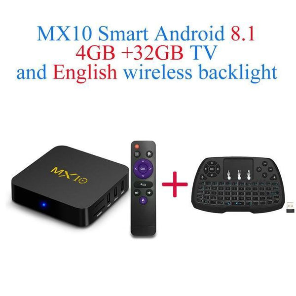 PINkart-USA Online Shopping UK Plug / 4G32G EN-Keyboard Mx10 Android Tv Box Rk3328 4K Tv Box Android 8.1 Usb3.0 4Gb 32Gb 64Gb Miracast Airplay Wifi Hd
