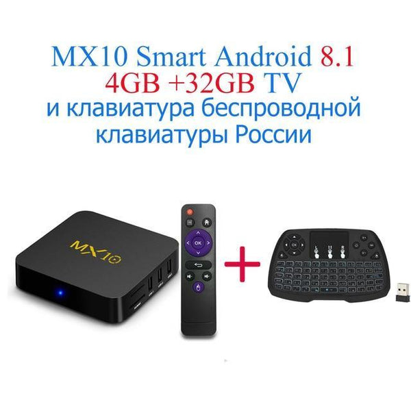 PINkart-USA Online Shopping UK Plug / 4G32G RU-Keyboard Mx10 Android Tv Box Rk3328 4K Tv Box Android 8.1 Usb3.0 4Gb 32Gb 64Gb Miracast Airplay Wifi Hd