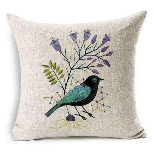 PinKart-USA Online Shopping Under Flower Bied Pillow Case Beautiful Flower And Bird Cotton Linen Pillowcase For Bedroom Chair Seat Throw