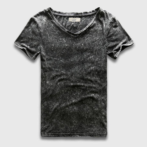 PINkart-USA Online Shopping Vintage Black T-Shirt Men China Size Fashion Heavy Washed T Shirts For Men Slim Fit V Neck Top Tees
