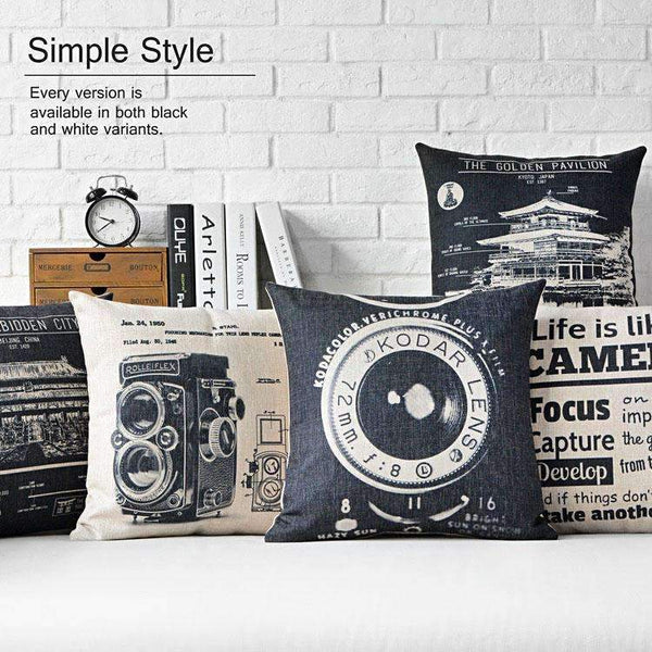 PinKart-USA Online Shopping Vintage Camera Cushion Retro Buildings Decorative Pillow Home Decor Throw Pillow Sofa Cushions
