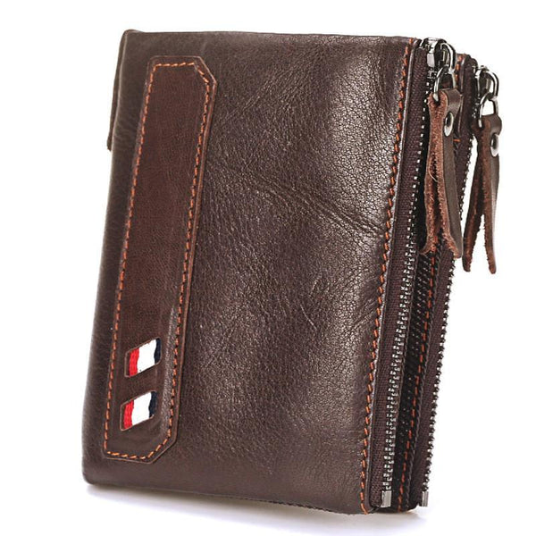 PINkart-USA Online Shopping Vintage Genuine Cow Leather Men Wallet Coin Purse Wallets With Coin Pocket Dual Zipper Short Small