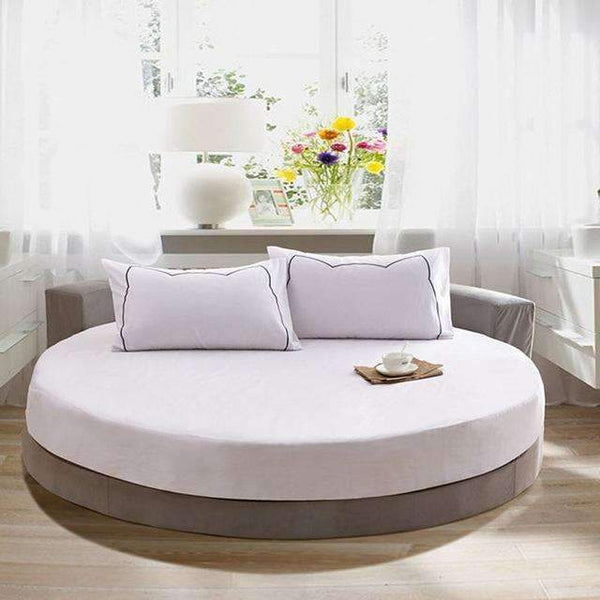 PinKart-USA Online Shopping white / 200cm 100% Pure Cotton Solid Color Bed Sheet Round Fitted Sheet Europe Style Soft Sheet Multicolor Bed