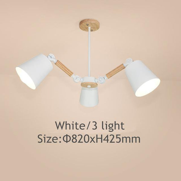 PINkart-USA Online Shopping White 3 light Lustre Led Chandelier For Living Room Hanging Lights Lustres Para Sala De Jantar Lampshade Wood