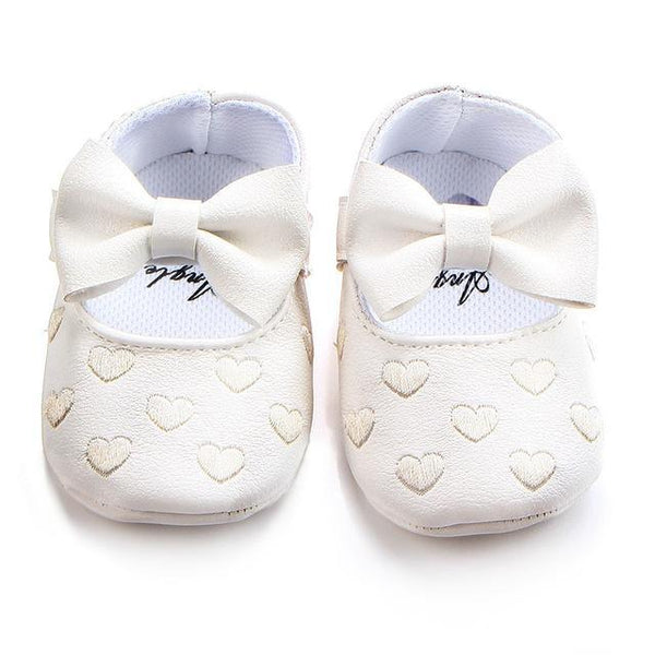 PINkart-USA Online Shopping White / 7-12 Months Soft Bottom Pu Leather Baby Shoes Big Bow Embroidery Love Kids Shoes Non-Slip Toddler Soft Soled