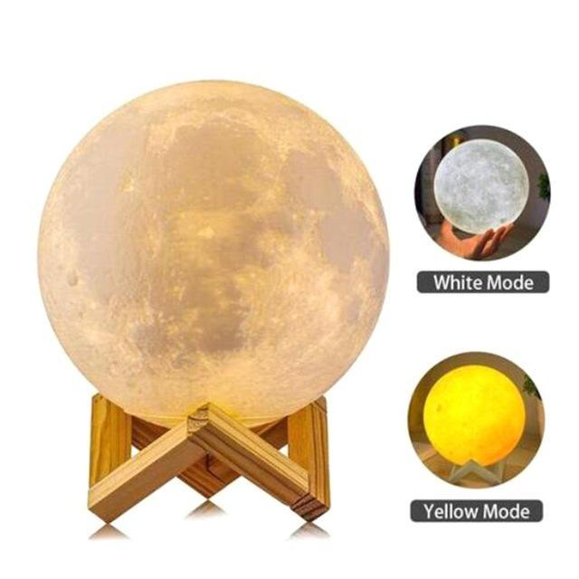 PINkart-USA Online Shopping White and Yellow / 10CM Moon Lamp 3D Printing Led Night Light Novelty Light Lunar Usb Powered Touch Control 8-20Cm Ball